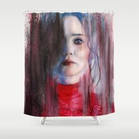 katniss Shower Curtains featuring The games changes you by Ana Montaño