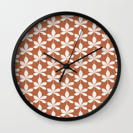 Modern distressed leaves pattern. Chocolate brown and white design. Wall Clock