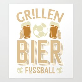 Barbecue beer soccer ball Art Print