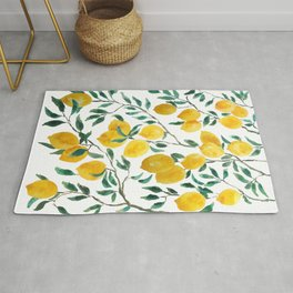 yellow lemon watercolor 2020 Rug