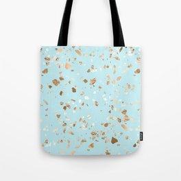Blue Gold Modern Terrazzo Tote Bag