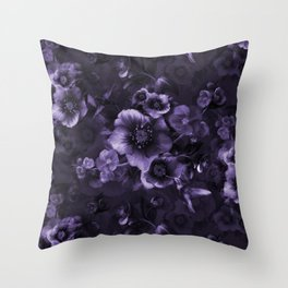 Moody florals purple by Odette Lager Throw Pillow