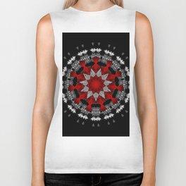 Bright Red Silver Star Flower Mandala Biker Tank