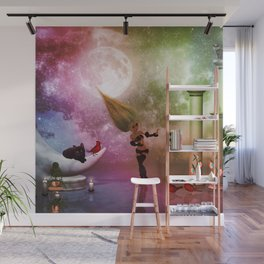 Little fairy with birds and cats Wall Mural