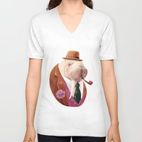 walrus V-neck T-shirts featuring Walrus by Animal Crew