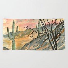 Southwestern Art Desert Painting Beach Towel