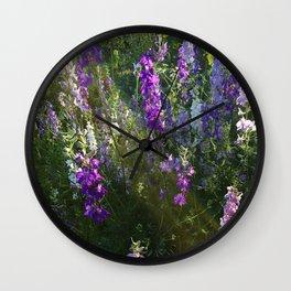 Purple Flowers Sunset Light Streaks Wall Clock