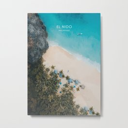 El Nido, Philippines Travel Illustration Metal Print