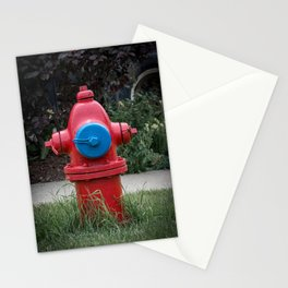 Red and Blue Traverse City Iron Works Fire Hydrant Final Model Fire Plug Stationery Cards