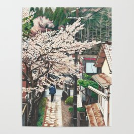 Passing by Cherry Blossoms Poster
