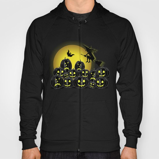 Pumpkins and witch in front of a full moon Hoody