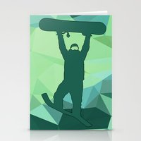 snowboard Stationery Cards featuring Snowboard by B Remembered Designs