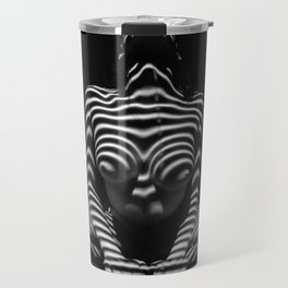 1152-MAK Abstract Nude Black & White Zebra Striped Woman Topographic Feminine Body Travel Mug