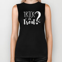 Trick Or Treat? | Black And White Biker Tank
