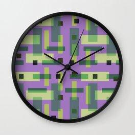 Purple, Green and Yellow Block City Wall Clock