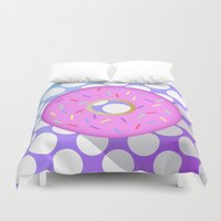 donut Duvet Covers featuring DONUT DONUT DOUGHNUT!! by anthonykun