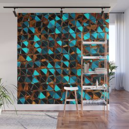 Gold and Blue Polygons K2 Wall Mural
