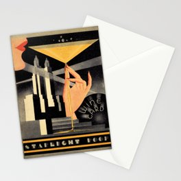 1930's Waldorf Astoria Hotel NYC The Starlight Roof, Champagne Wine Card Vintage Poster Stationery Cards