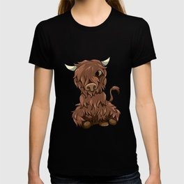 Cute Highland Cow Kawaii Cartoon Style T-shirt
