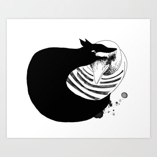 The Magpie & black Fox Art Print