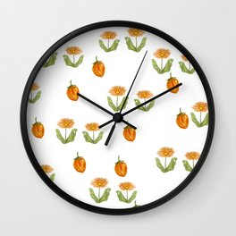 orange daisies on a summer day Wall Clock