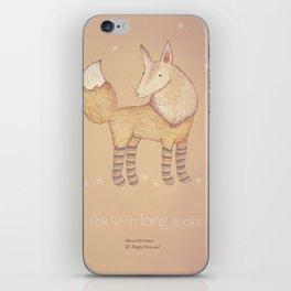 Christmas creatures- Fox with long socks iPhone Skin
