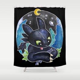 Baby Toothless Night Fury Dragon Watercolor black bg Shower Curtain