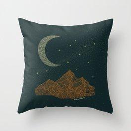 Moon mountain line art Throw Pillow
