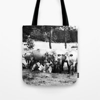 cows Tote Bags featuring Cows by koya noya