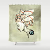 moth Shower Curtains featuring Moth 2 by Freeminds