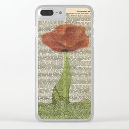 Vintage poppy flower Clear iPhone Case