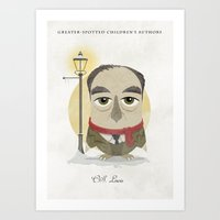 cs lewis Art Prints featuring CS Lewis - Greater-Spotted Children's Authors by Scott Tyrrell