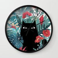 bed Wall Clocks featuring Popoki by littleclyde