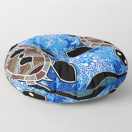 Sea Turtles - Authentic Aboriginal Art Floor Pillow