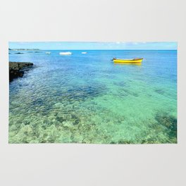 Exotic Blue Lagoon Indian Ocean Coral Reef Seascape Rug