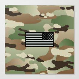 Woodland Camouflage & Black Flag Canvas Print