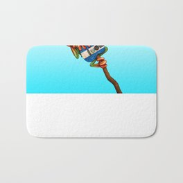 Tree Frog Playing Acoustic Guitar with Flag of El Salvador Bath Mat
