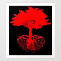 Heart Tree - Red Art Print