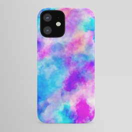 Modern hand painted neon pink teal abstract watercolor iPhone Case