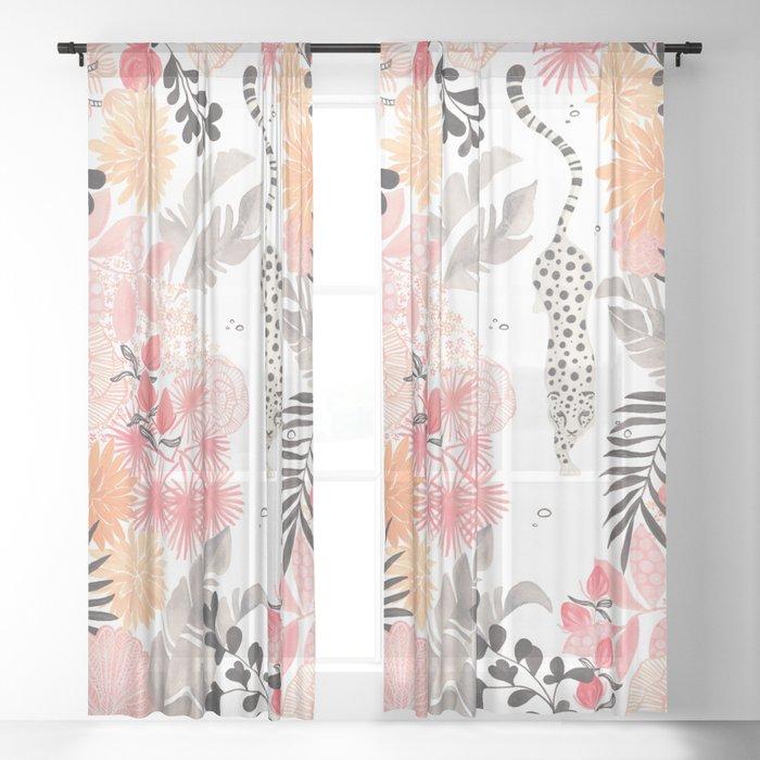 Stalking Leopard Sheer Curtain