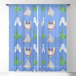 halloween sphynx (naked cats) Sheer Curtain