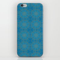 coasters iPhone & iPod Skins featuring Gold Lace on Blue by Lena Photo Art