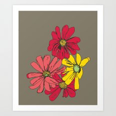 Grey Flowers Art Print