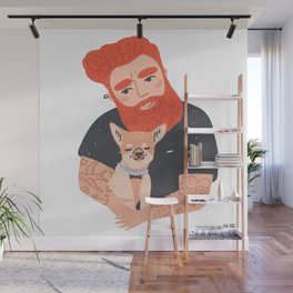 Tattooed Man Hugging Dog Wall Mural