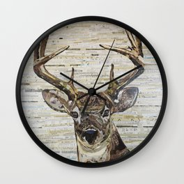Whitetail Deer Buck Collage by C.E. White Wall Clock