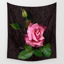 Pink Rose on Black Lace, Scanography Wall Tapestry