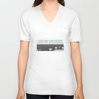 vw bus V-neck T-shirts featuring Low VW Bus by leducland