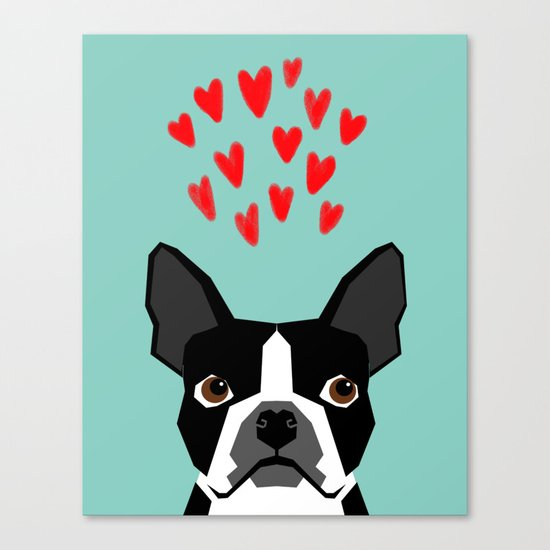 Boston Terrier - Hearts, Cute Funny Dog Cute Valentines Dog, Pet, Cute, Animal, Dog Love,  Canvas Print