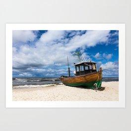 Fishing boat on the beach Art Print