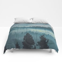 Misty Blue Watercolor Mountains Pine Trees Silhouette Minimalist Monochromatic Photo Comforters